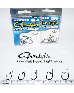 Gamakatsu Live Bait (Light Wire) Size 1,1/0, 2, 2/0, 4 Hooks