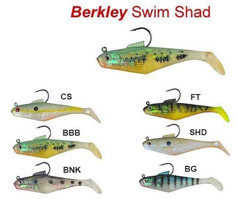 "Choose Colors 4 Berkley PowerBait 4/"" Pre-Rigged Fishing Lures Swim Bait Shad"